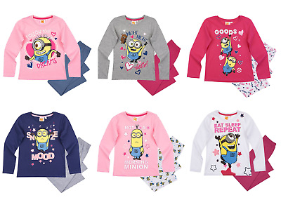 Girls Kids Official Licensed Minions Despicable Me Long Sleeve Pyjamas PJs