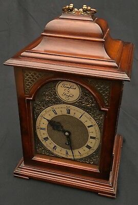Stunning Mahogany Cased Fretwork Brass Dial Mantel Bracket Clock Smiths Vintage