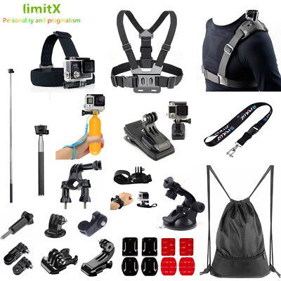 Bundle Kit Accessories Bike Chest Strap Clip Monopod Backpack for Action Camera