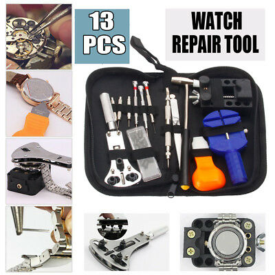 13PCS Watch Battery Change Repair Tool Band Pin Remover Back Case Opener Kit
