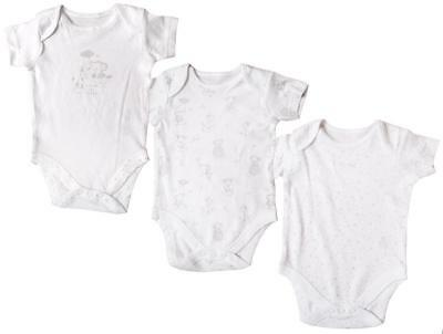 Boys Baby PACK OF 3 Giraffe Elephant Bodysuit Vests Tiny Prem Baby to 6 Months