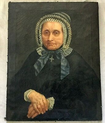Antique Oil Painting 18th C Dutch School Portrait of a Elderly Woman Lady