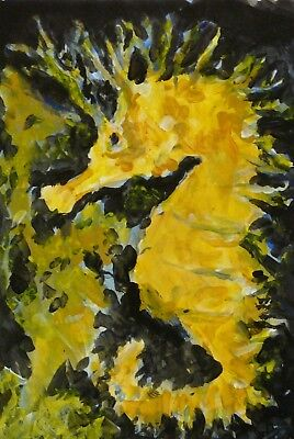 Original Hand Painted Sea Horse acrylic on quality paper Signed by artist COA