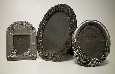 Picture FRAMES Table Top Decorative Gray Metal Cat Florals Scrolls Lot of 3