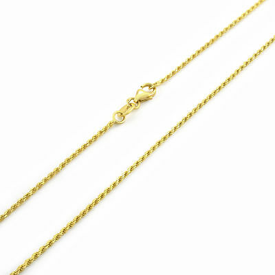 """14k Yellow Gold Solid 1mm Womens D/C Italian Rope Chain Pendant Necklace 16""""-30"""""""