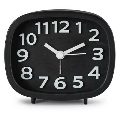 Non Ticking Alarm Clock, Battery Powered Bedside Clock Silent Simple to Set M9M4