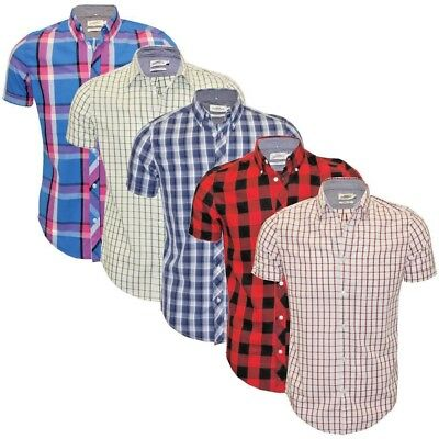 Ex UK Chainstore Men's Short Sleeve Check Cotton Summer Casual Shirt Tops