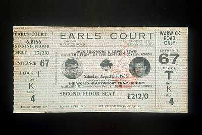 1966 MUHAMMAD ALI v BRIAN LONDON full on-site boxing ticket Cassius Clay boxer
