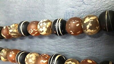 RARE Old Round Translucent and Banded Mosaic Roman Glass Beaded Necklaces Multi