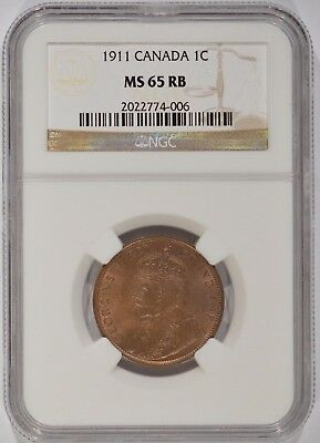 1911 Canada King George V Large Cent 1c NGC MS65 RB 2022774-006