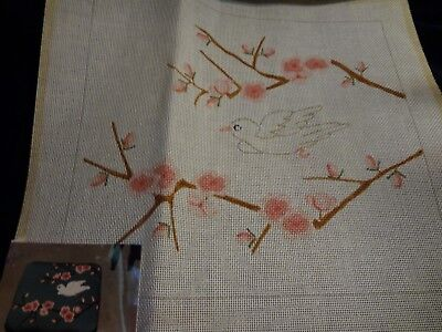 HCN1 - BIRD AND PLUM BLOSSOMS - Village Needlecraft - Needlepoint CANVAS