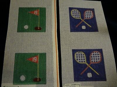 Handpainted GOLF and TENNIS COASTERS - Village Needlecraft - Needlepoint CANVAS