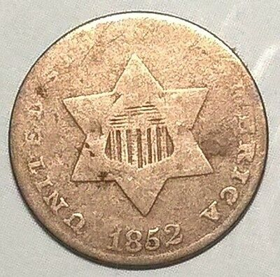 1852  Silver Three-Cent Piece   free shipping!