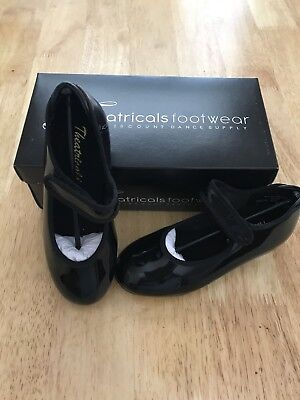 Theatricals Dance Footwear Tap Shoes Girls Kid's Size 10 Black Patent Strap