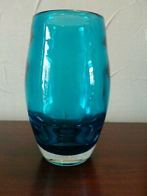 Whitefriars Kingfisher Blue glass ovoid vase by Geoffrey Baxter pattern no 9587