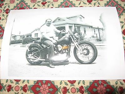 Man on vintage motorcycle photo 4x6 harley biker knuckle not hells angel