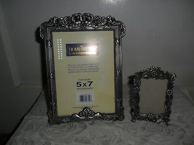 """Pewter Pair of Victorian Style Photo Frames - A 5""""X7"""" and a smaller 2""""X3"""" Frame"""