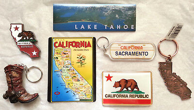 Lot of California Keychains Magnets, Sacramento, Lake Tahoe Travel Souvenirs