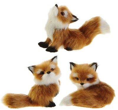 "Red Fox Ornaments (set of 3) 2.5"" to 4"" high FURRY Faux Fur Raz Imports 3850103"