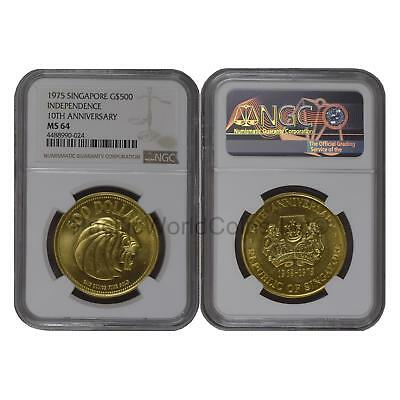 Singapore 1975 Independence 10th Anniversary $500 Gold NGC MS64 SKU#6691