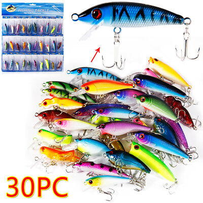 Bass Fishing Lures Crankbaits Hooks Minnow Baits Tackle Floating Kit Saltwater