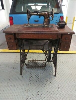 Antique Singer Sewing Machine with Cabinet and Cast Iron Base