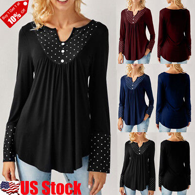 Women's Long Sleeve V Neck Casual Tops Ladies Loose Pleated Tunic Blouse T Shirt