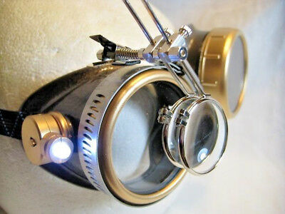 Pro Steampunk ® Safety Goggles Aged Copper & Brass Enamel Led Lab Glasses 15X