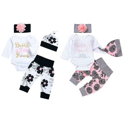 Floral Daddy's Princess Romper Long Pants Outfits Clothes 4pcs for Baby Girls