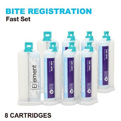 Element Bite Registration Material Fast Set 8 X 50Ml Cartridges Dental Vps Pvs