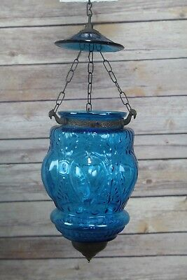 Antique Victorian Blue Glass Hanging Candle Lamp With Chains