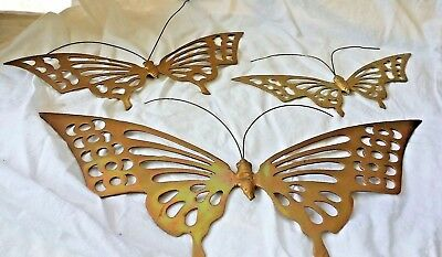 Vintage Heavy Solid Brass Butterfly Wall Decor Hangings    Lot of 3     Nice