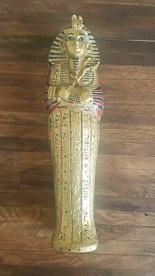 "Ancient 9.5"" Egyptian King Tut Mummy Jewelry Box Vintage Velvet Back Nice"