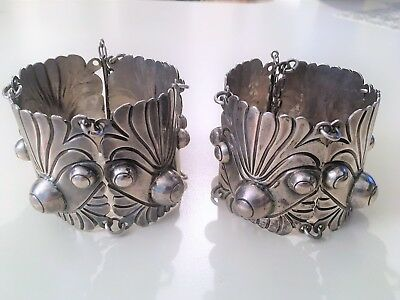 Pair of Hallmarked 980 Mexican Silver Cuff Vintage Bracelets, 275 grams