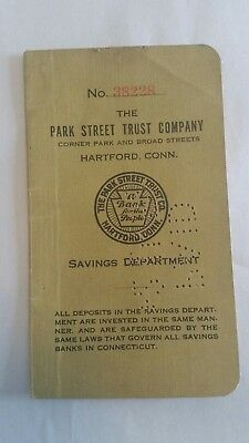 Vintage 1939 Park Street Trust Company Hartford CT Bank Savings Deposit Log Book