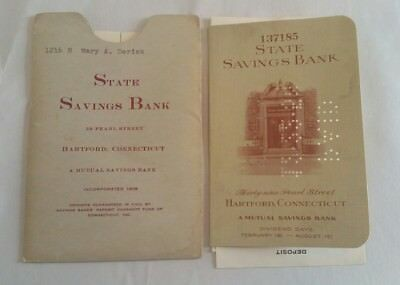 Vintage 1955 State Savings Bank Hartford CT Savings Deposit Log Book