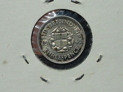 1941 Three Pence 1939 Shilling 1926 Six Pence 1942 Half Crown Silver Coins UNC +