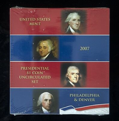 2007 US Mint Presidential $1 Coin Uncirculated Set P&D Original Mint Seal
