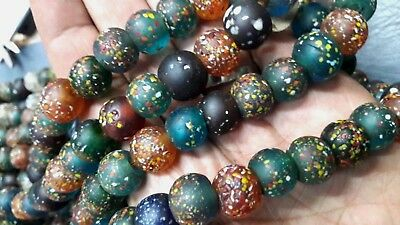 RARE Old Round Multi-color Translucent Roman Glass Beaded Necklaces |Ancient Mos