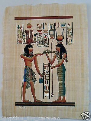 Papyrus Painting From Egyptian Art Caravan of Ramses the Great and Isis