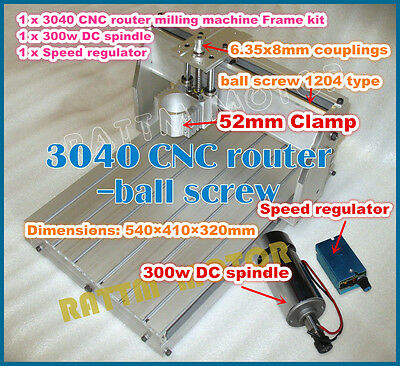3040 300W Spindle Desktop Ballscrew CNC Engraving Milling Machine Router Frame