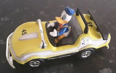 Vintage Disney Donald Duck Pull Back Friction Toy Race Car Tin Metal #45 Rare