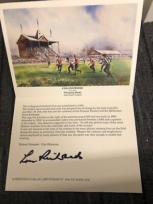 Lou Richards Collingwood Magpies Hand Signed Victoria Park Card Buckley Swan