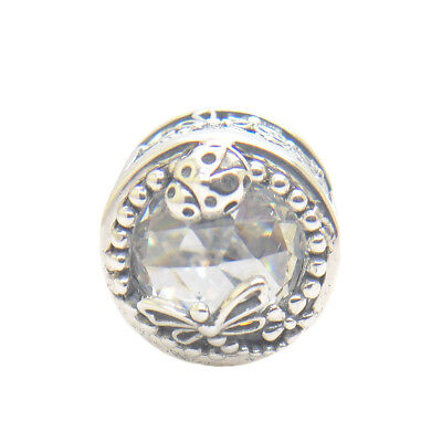 Authentic Genuine S925 Sterling Silver Enchanted Nature Clear CZ Charm Bead New