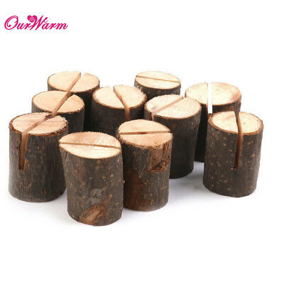 10/20/50pcs Wooden Rustic Wedding Table Number Stand Place Name Memo Card Holder