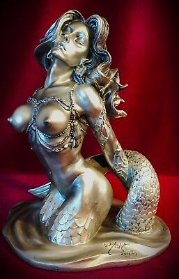 "Mermaid Statue Figurine-Siren Nude-Mythical Nautical Decor-Over 7"" Tall"