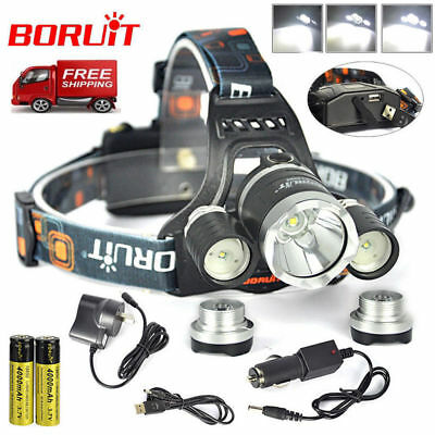 BORUiT RJ-5000 Headlamp XM-L T6+2R5 LED Headlight + AC/Car/USB Charger + 2*18650