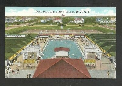 Pool & Tennis Courts, Deal New Jersey Pre-Linen Vintage Postcard Unused