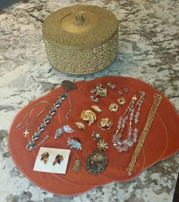 Gold Plastic Notion Dresser Box Filled w Vintage Costume Jewelry Lot ESTATE FIND