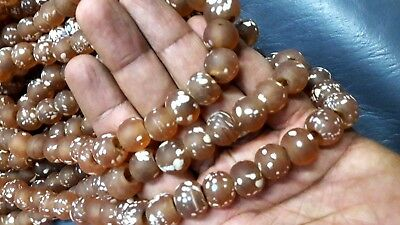 RARE Old Roman Glass Beaded Necklaces Round Peach Color Translucent White Spotte